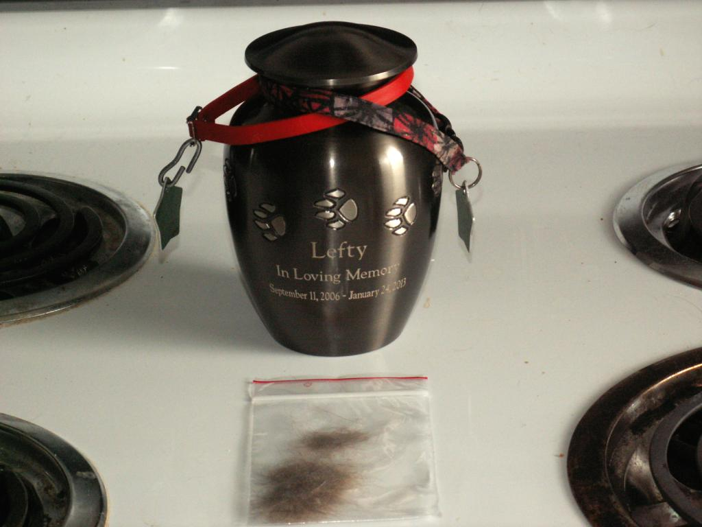 An urn & some saved fur in a baggie