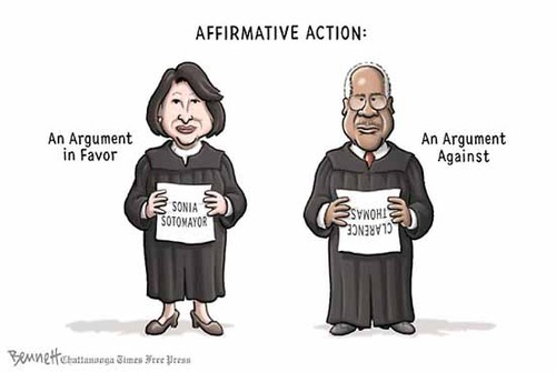 "an argument supporting the use of affirmative action in the society In our society"" that affirmative action ""ought to be temporary  the use of race for a period of time, and leading institutions in these states."