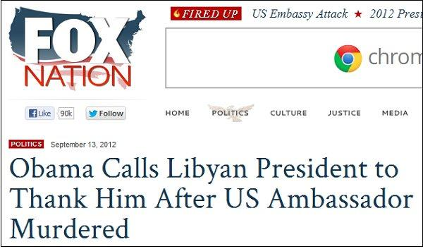 Fox: Obama thanks Libyan president after Americans are murdered