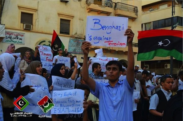 Libyan counter protest in support of U.S.