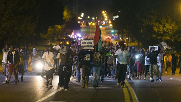 Black protestors in Ferguson, MO